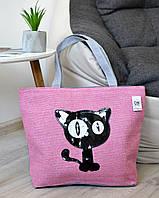 Женская летняя пляжная сумка Black Cat розового цвета