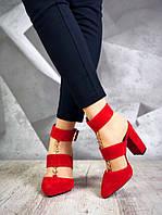 Шикарные красные женские замшевые туфли Belisimo, фото 1