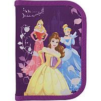 Пенал Kite Princess, фиолетового цвета с принцессами, пенал-книжка отделения с отворотом, резинки для фиксации, 111070(P18-621)