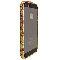 Чехол-бампер DK-Case металл керамика с камнями для Apple iPhone 5/5S (cream/red)