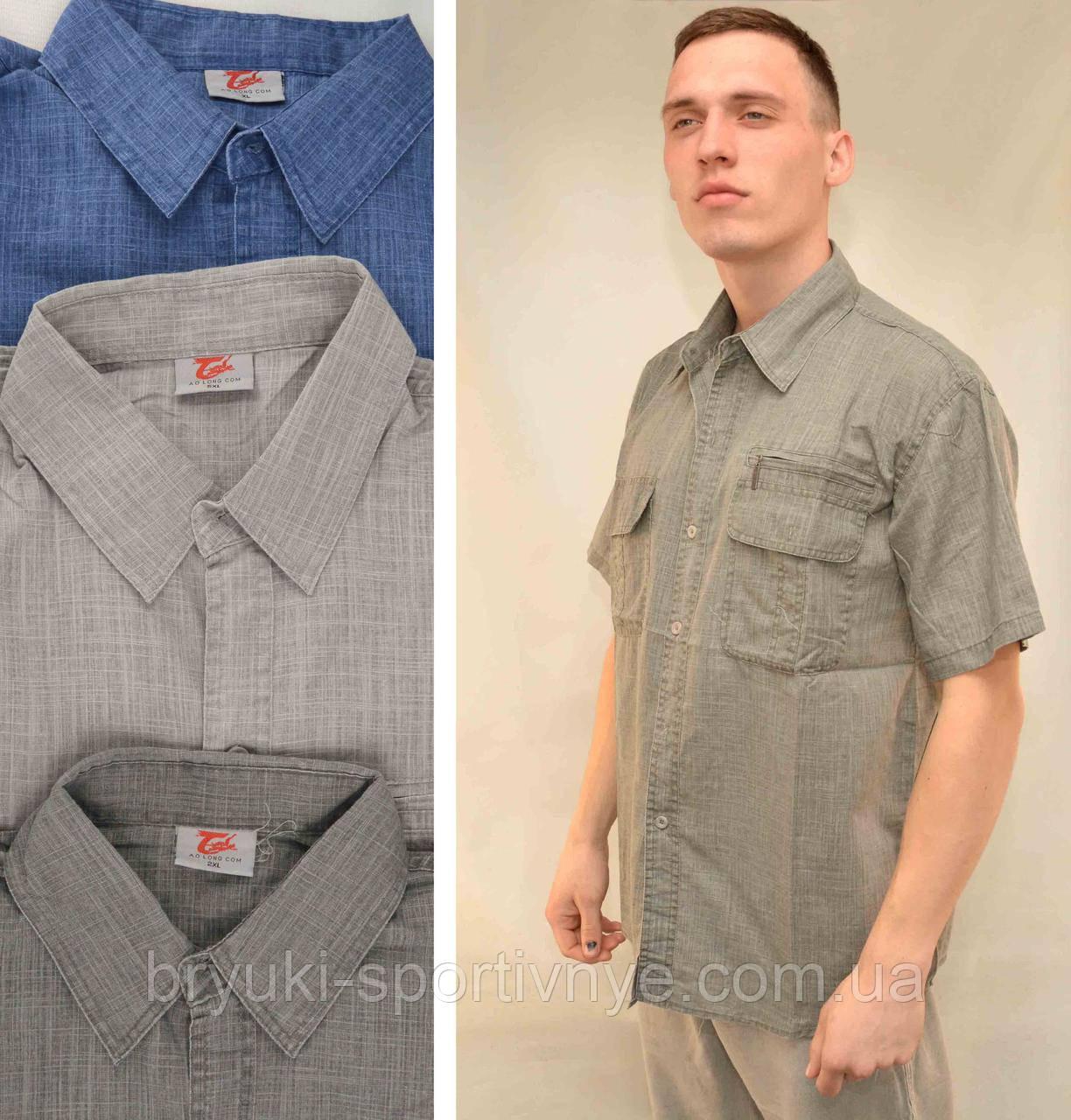 Рубашка мужская льняная с коротким рукавом и в хороших размерах