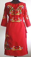 Вишите жіноче плаття з маками + пояс-корсет ПЖ-1045 червоне