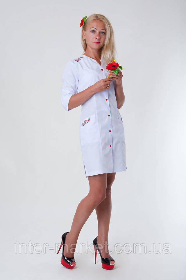 Медицинский халат с вышивкой украина