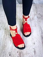 Женские красные замшевые босоножки Nana , фото 1