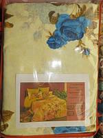 Постельное белье полуторное ткань поликоттон с синими розочками