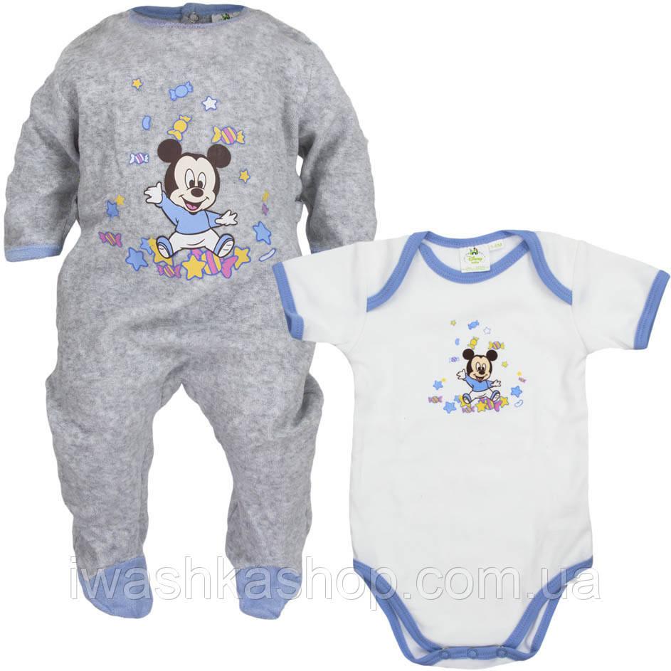 Удобный комплект, человечек и боди с Микки Маусом на мальчика 0 - 3 месяца, 48 - 60 см. Disney baby