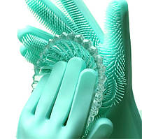 Силиконовые перчатки для мытья и чистки Magic Silicone Gloves с ворсом Бирюзовые