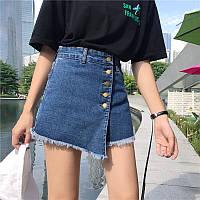 """Женская джинсовая юбка-шорты """"уголок"""""""