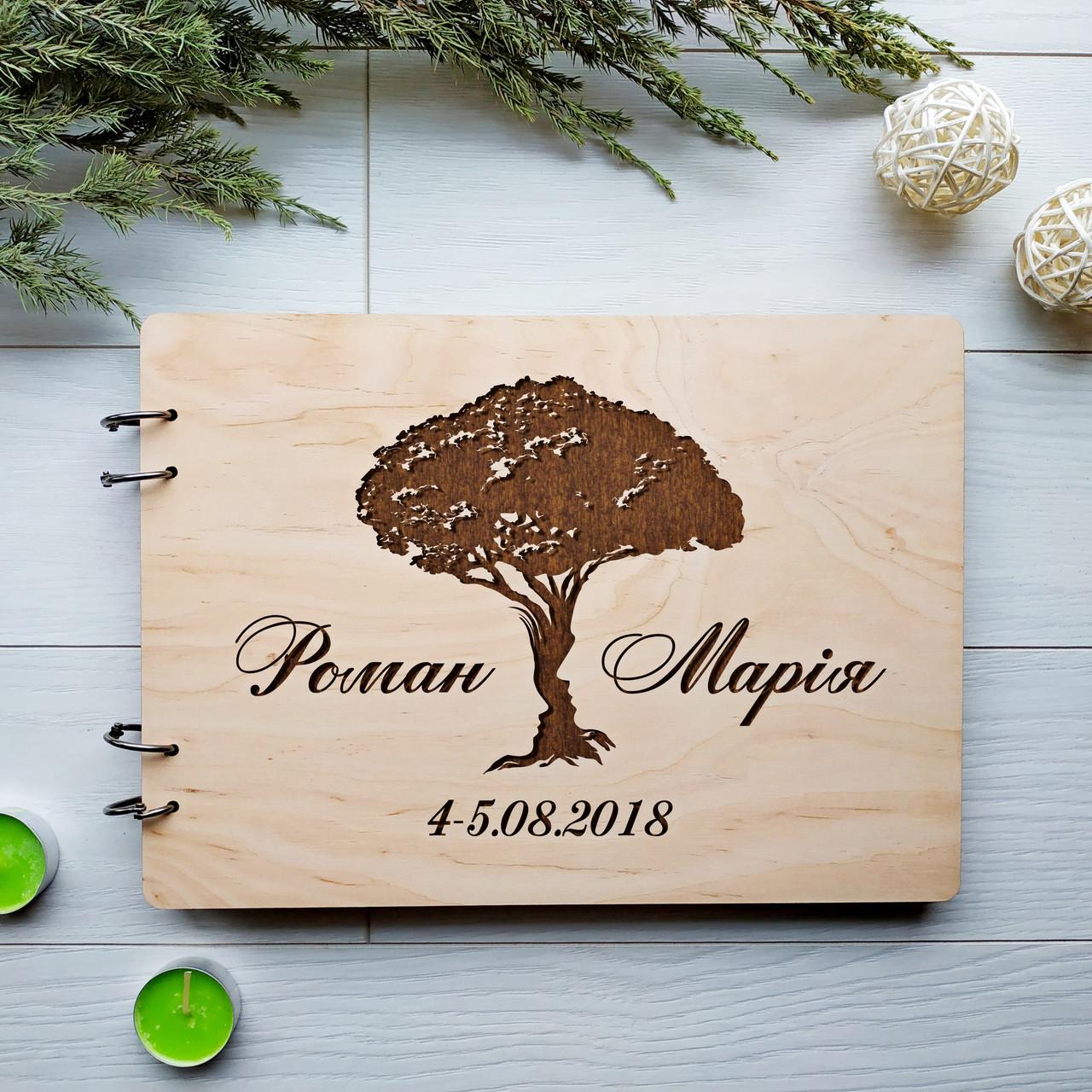 Книга пожеланий из дерева «Счастливая семья»