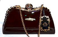 Женский лаковый вечерний клатч для торжеств и выпускных на поцелуе с цепочкой 30*16 см (каштан)