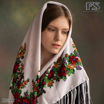Павлопосадська шерстяна  хустина  Квіткова казка, фото 2