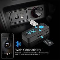 Бездротовий AUX Bluetooth+MP3 microSD приймач,адаптер,ресивер, ГУЧНИЙ ЗВ'ЯЗОК X6