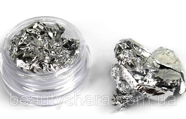 Жатая фольга для ногтей (серебро)