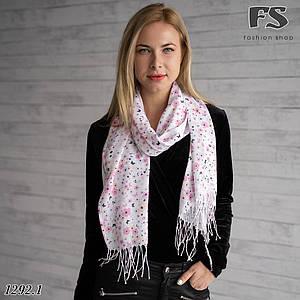 Стильний білий шарф Літні квіти