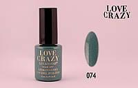 Гель лак LOVE CRAZY 12 мл. #074 (зеленый с блестками)