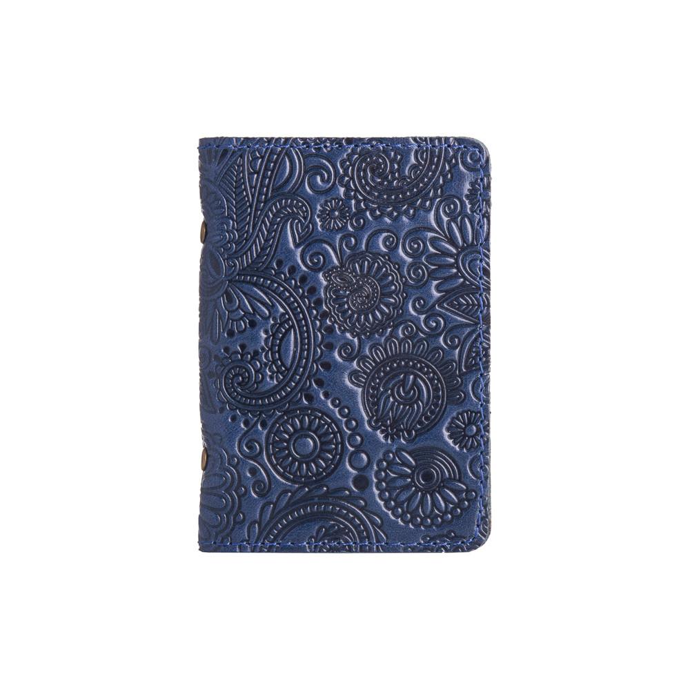 Дизайнерская обложка-органайзер для ID паспорта и других документов с глянцевой кожи голубого цвета