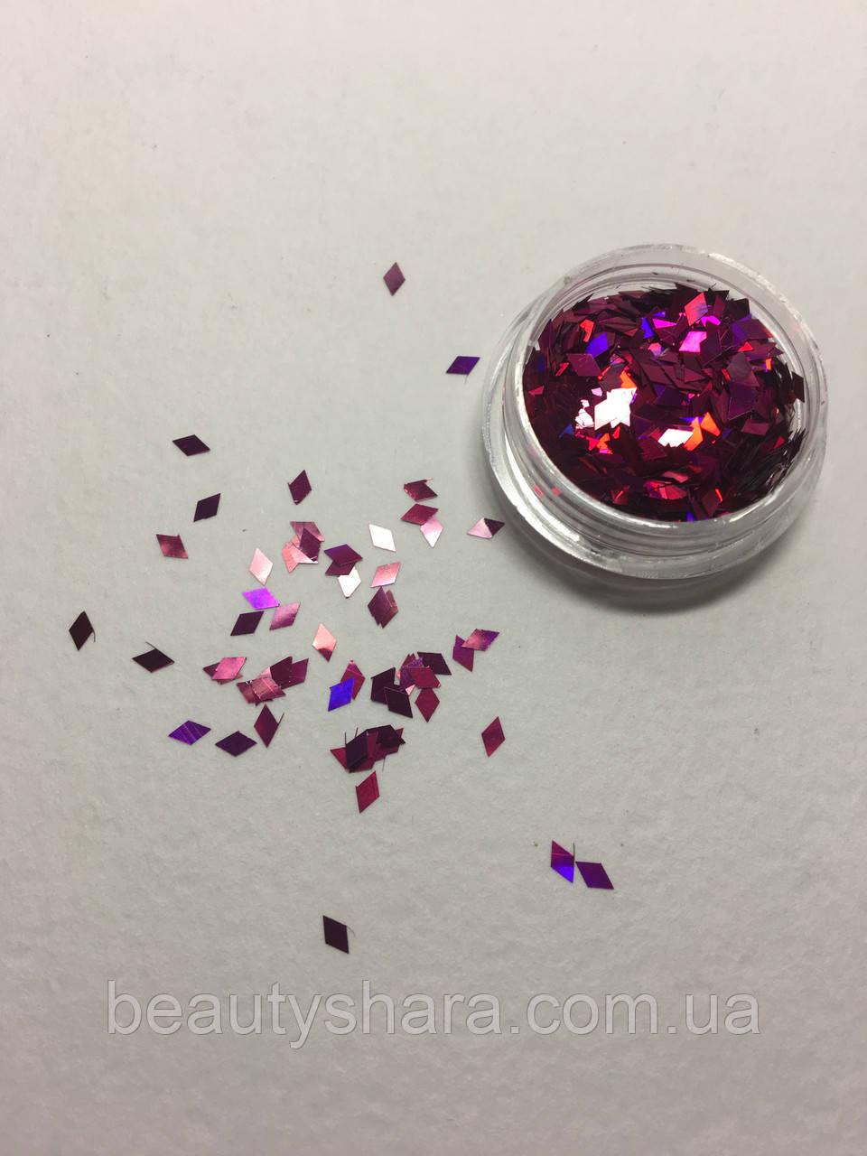 Декор блестка ромб в баночке розовый