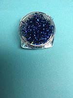 Стружка для декора ногтей в баночке синяя
