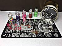 Промо-набор Стемпинга + Пластина +дизайн ногтей в баночке