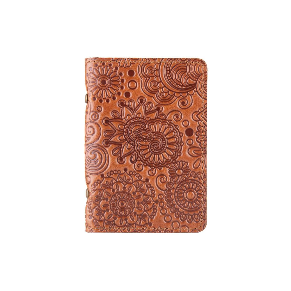 """Дизайнерская обложка-органайзер для ID паспорта и других документов с глянцевой кожи цвета глины, коллекция """"Mehendi Art"""""""