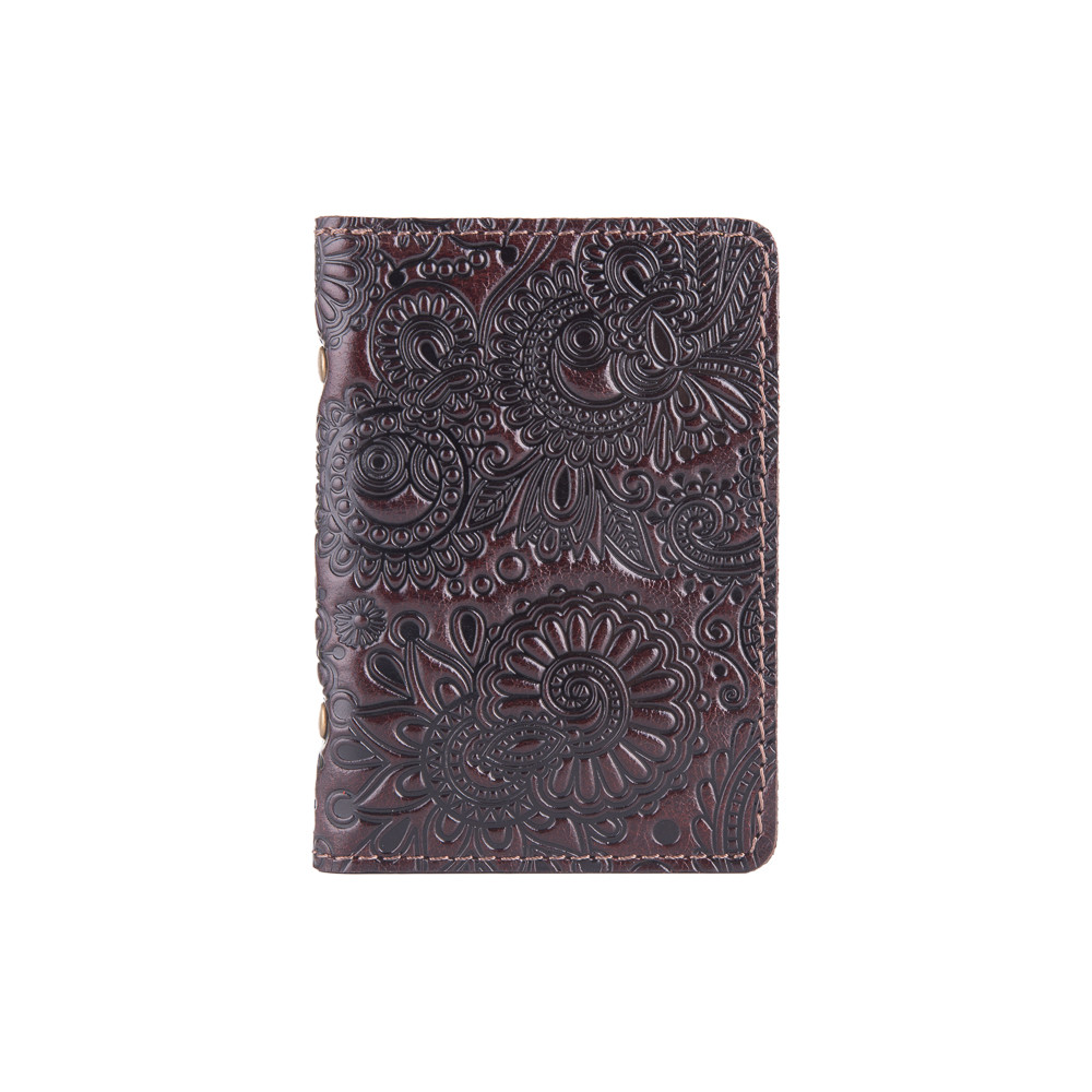 Коричневая дизайнерская обложка-органайзер для ID паспорта и других документов / карт с глянцевой кожи