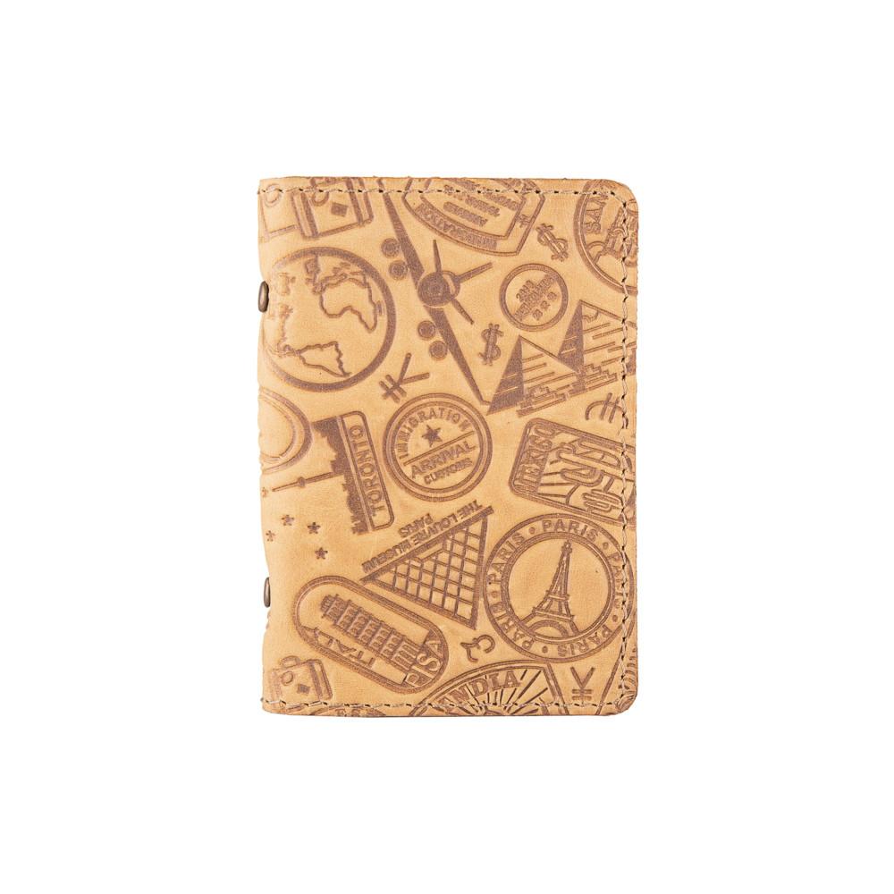 """Дизайнерська шкіряна обкладинка-органайзер для ID паспорта / карт, світло жовтого кольору, колекція """"let's Go Travel"""""""