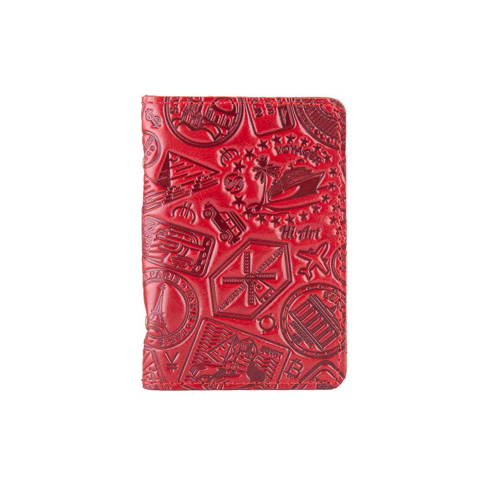 """Кожаная дизайнерская обложка-органайзер для ID паспорта и других документов красного цвета, коллекция """"Let's Go Travel"""""""