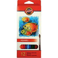 Карандаши цветные акварельные Koh-i-Noor Mondeluz Рыбки, 12 цветов, 2.8 мм (3716_p)