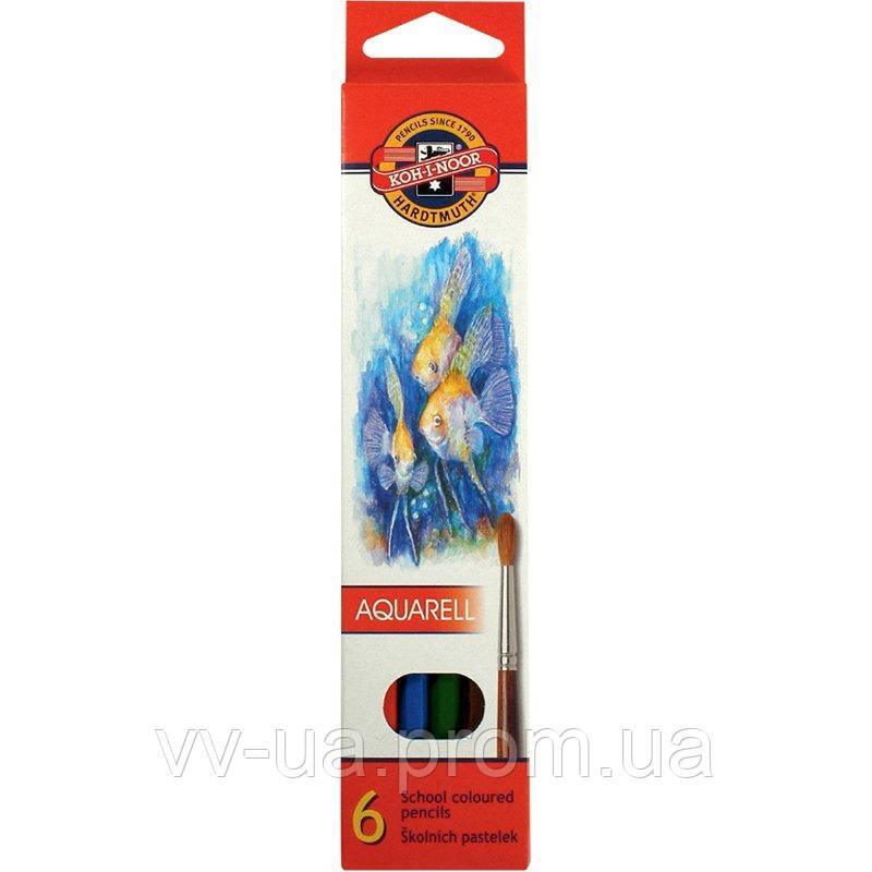 Карандаши цветные акварельные Koh-i-Noor Mondeluz Рыбки, 6 цветов, 2.8 мм (3715_p)
