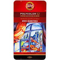Карандаши цветные художественные KOH-I-NOOR Polycolor, 12 цветов, металлическая упаковка (3822012002PL)