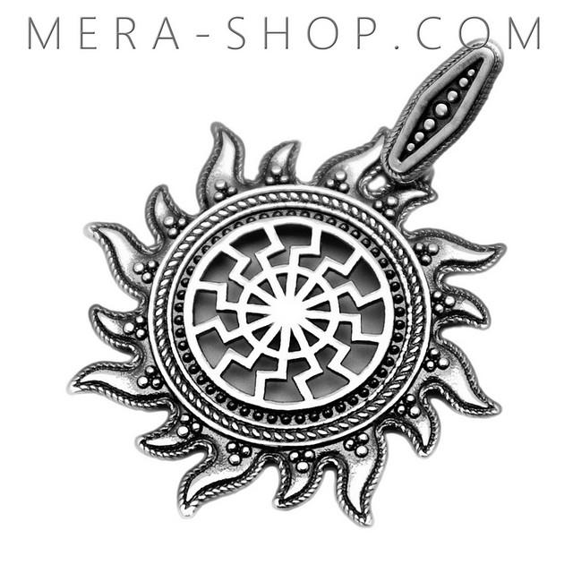 Славянский оберег из серебра 925 пробы Черное Солнце