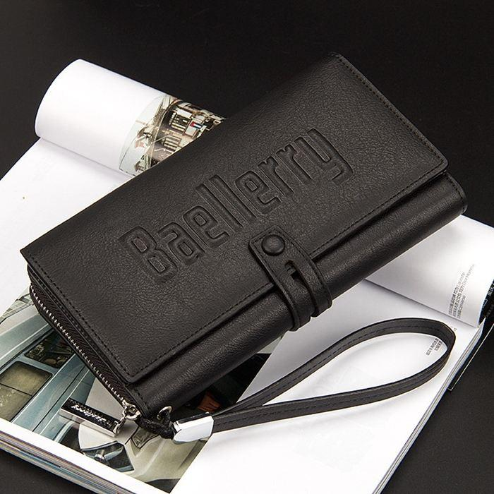 Стильный мужской кожаный кошелек. Baellerry Guero Черный
