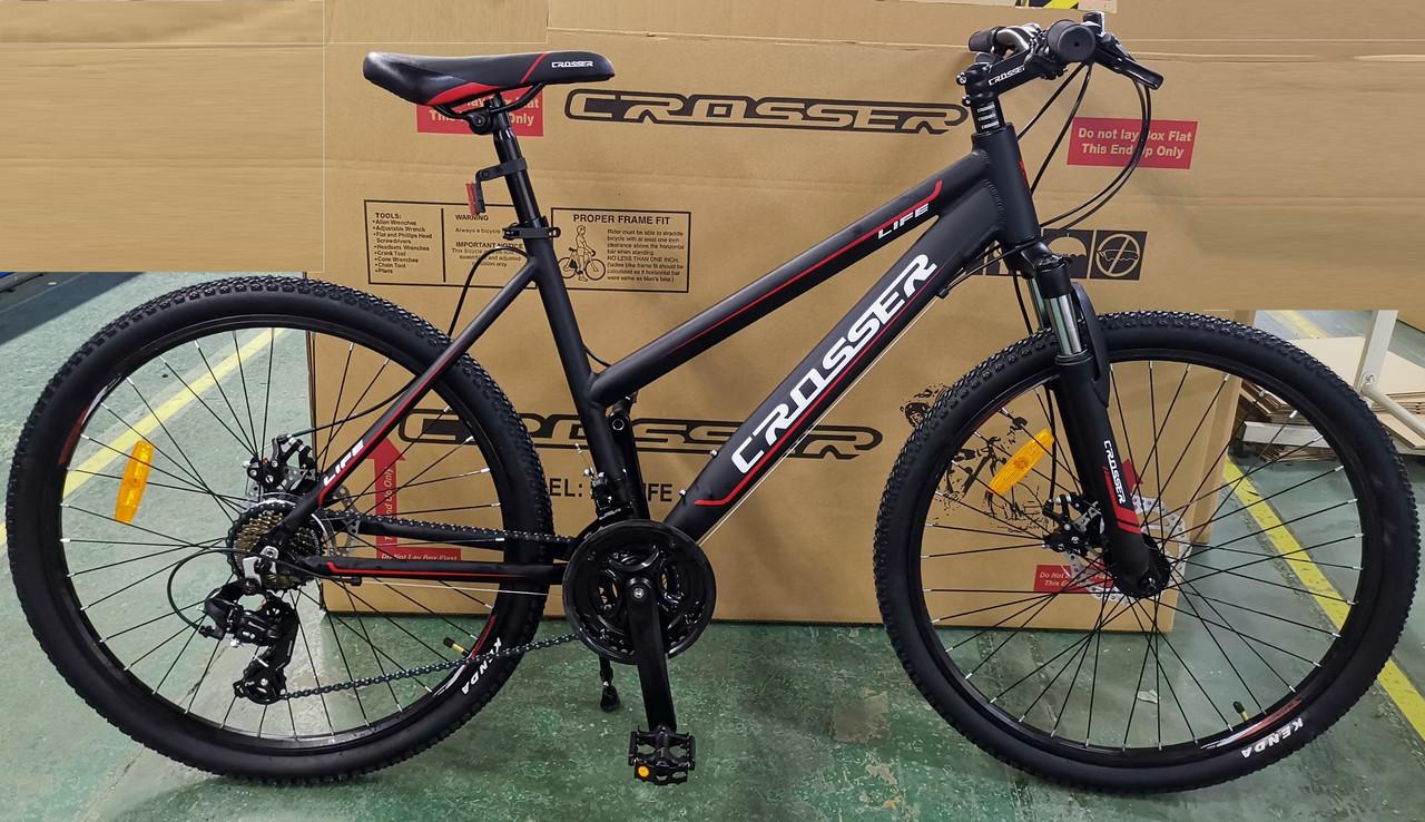"""Crosser Life New 26"""" Велосипед 2-х кол. красно-черный противоударные обода алюминиевая рама"""