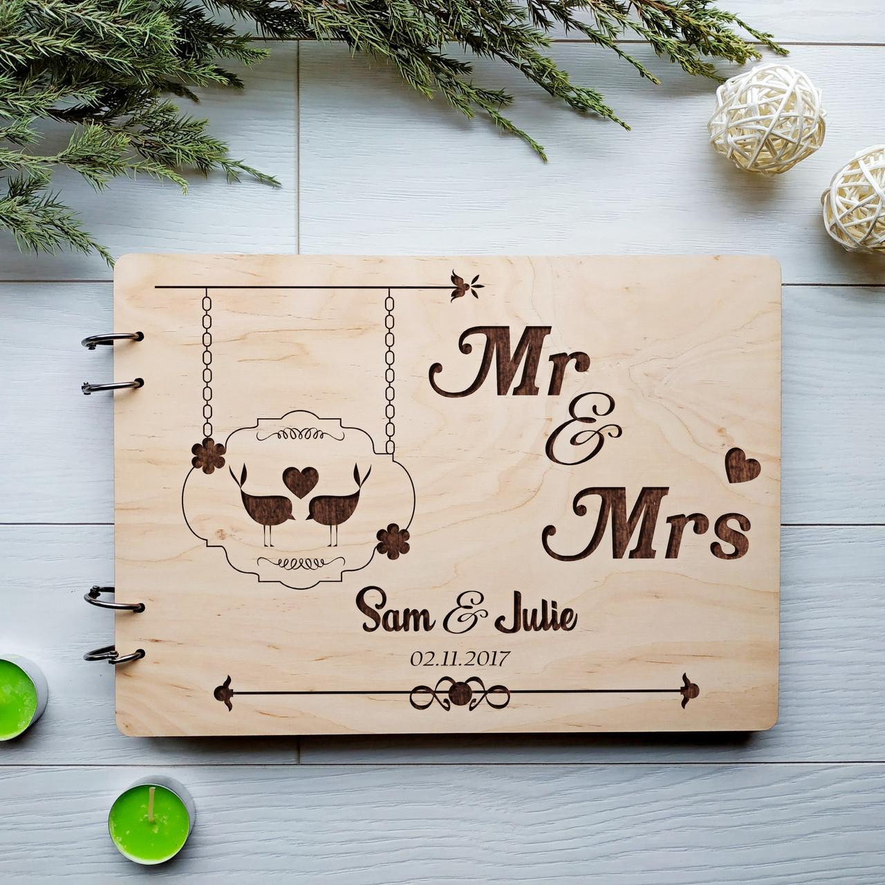 Альбом свадебный ручной работы для пожеланий с именной гравировкой