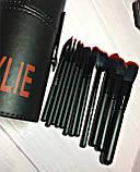 Набор кистей в красном, кожаном тубусе  12в1 Kylie, фото 4