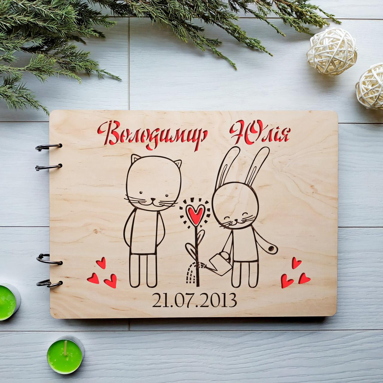 Свадебный альбом для фотографий и пожеланий в деревянной обложке