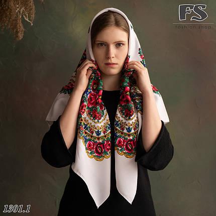 Українська народна шерстяна хустина без бахрами  Сади України, фото 2