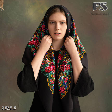 Українська народна шерстяна хустина без бахрами Сади України!, фото 2