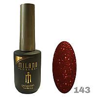 Гель-лак Milano Luxury 15ml. №143 (красный с блестками)