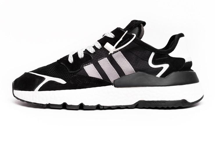 ad9fa586d Мужские кроссовки Adidas Nite Jogger 2019 Boost Black/White (Реплика ААА+) -