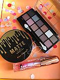 Тени Ushas 12 color  + Помада для бровей Anylady + Кисть для бровей tarte Gold Промо набор №0053, фото 3