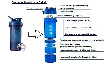 Шейкер спортивный BlenderBottle ProStak 650ml с 2-мя контейнерами Navy (ORIGINAL) , фото 2