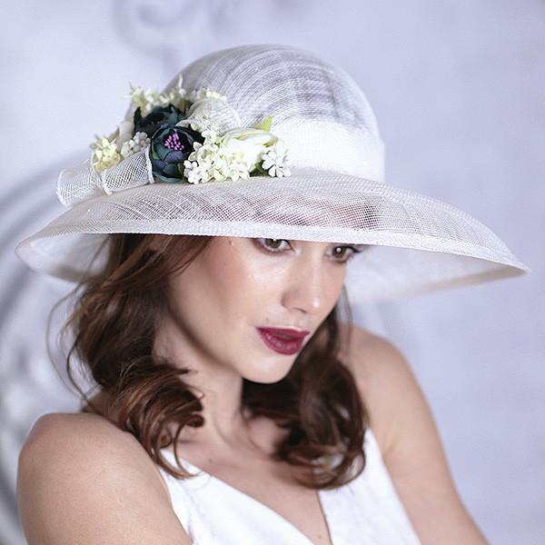 Белая летняя широкополая шляпа из соломки синамей поля 12 см размер 55-59