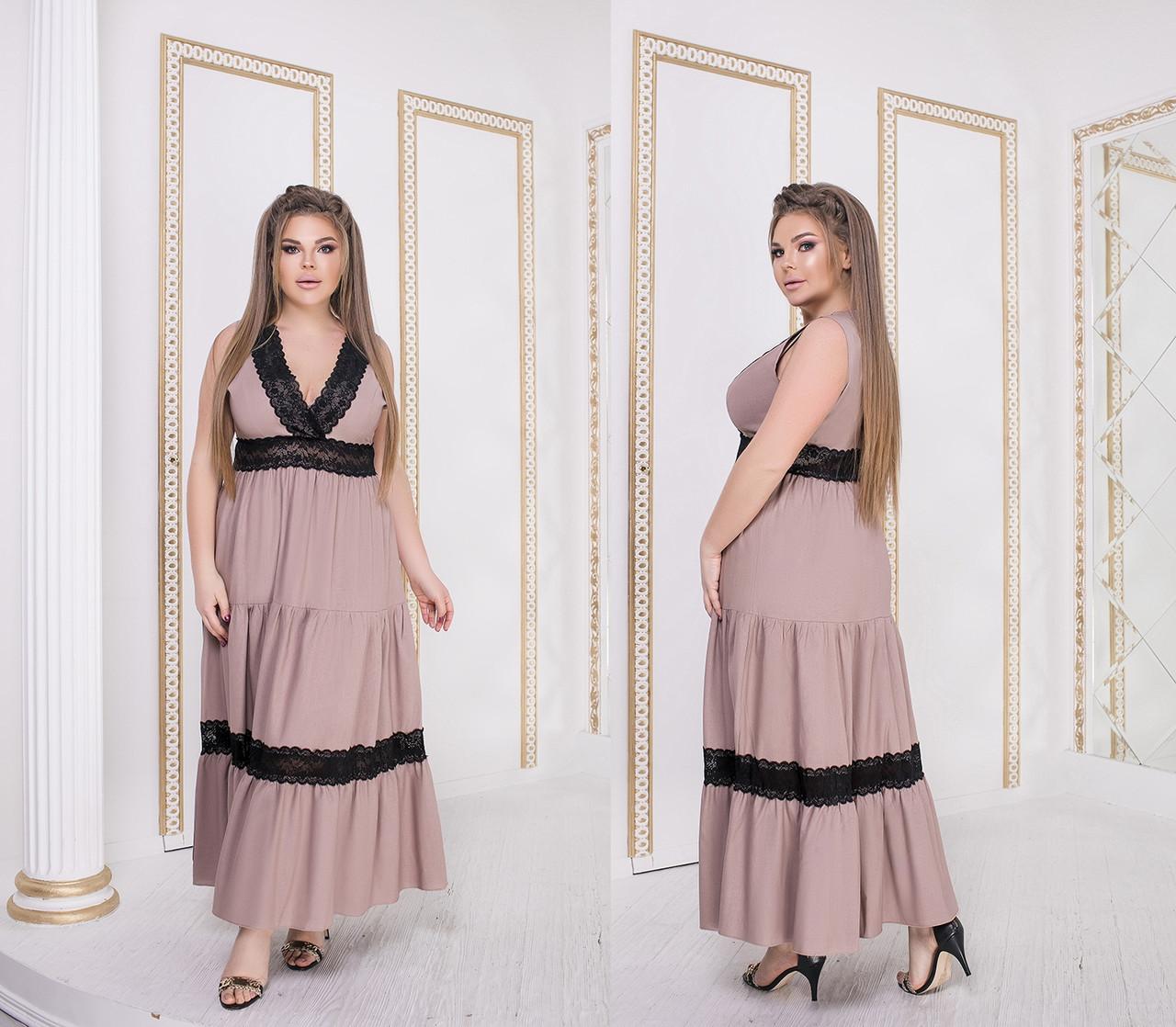 Длинное льняное платье с гипюром