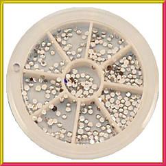 Набір Каменів в каруселі Стрази Срібні Дрібні, Декор для Нігтів, Декор для Дизайну Нігтів