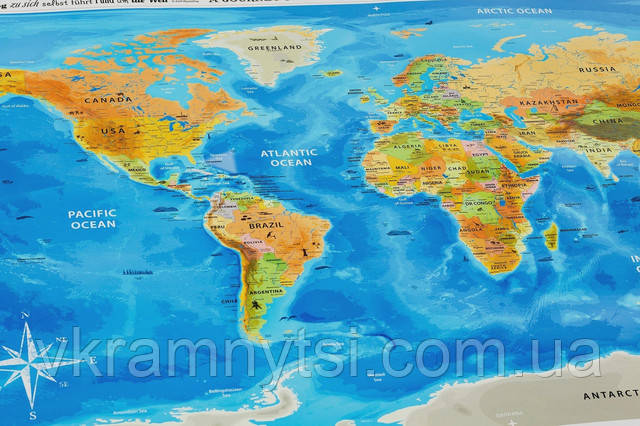 Скретч-карта світу англійською мовою «Discovery Map World», купить скретч-карту, Киев, Украина