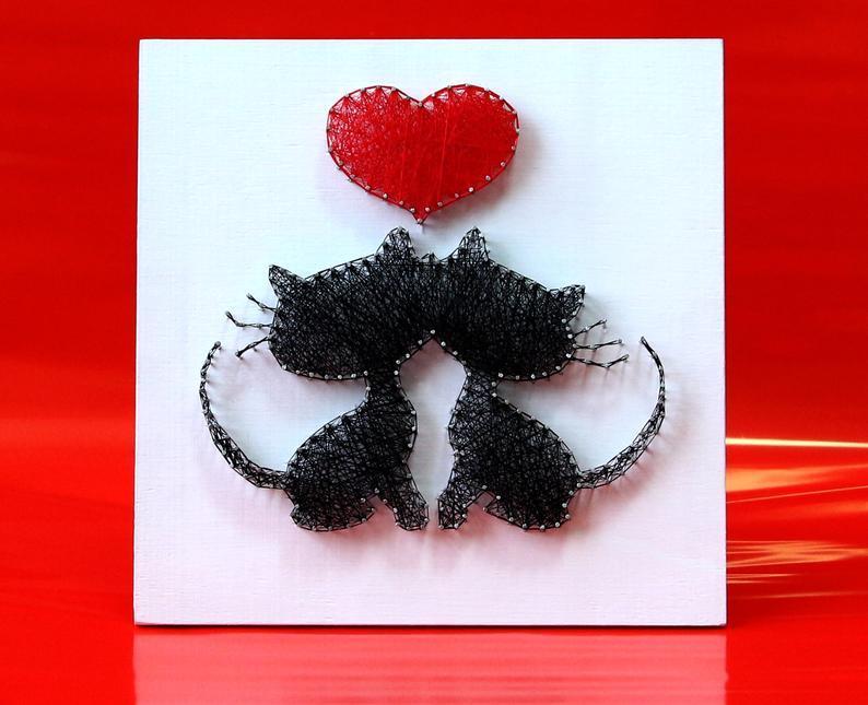 Закохані котики пано в техніці стрінг-арт String Art