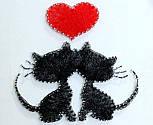 Закохані котики пано в техніці стрінг-арт String Art, фото 2