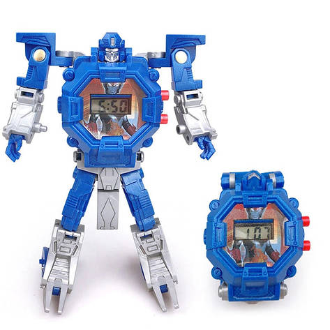 """Детские наручные часы игрушка """"Робот-трансформер"""" (синий), фото 2"""