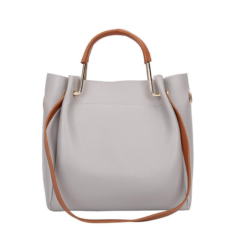 6cc0ee2dff8d Женская сумка из экокожи с металлическими ручками серая опт купить ...